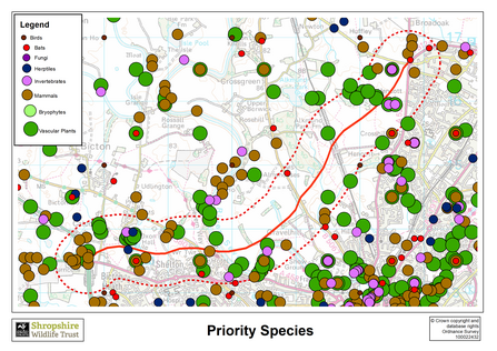 Priority species map north Shrewsbury