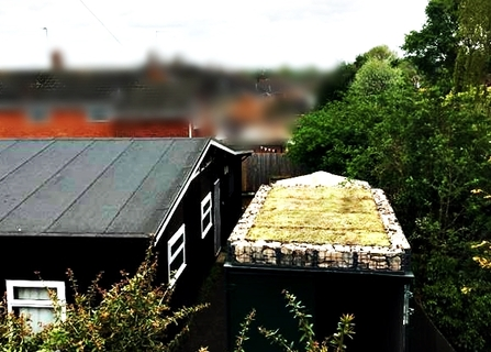 DePave: Church Aston & Chetwynd Aston Village Hall green roof on a shipping container