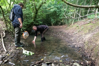 Crayfish survey in the Corvedale - Phil & Luke
