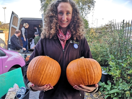 Lizzie and pumpkins